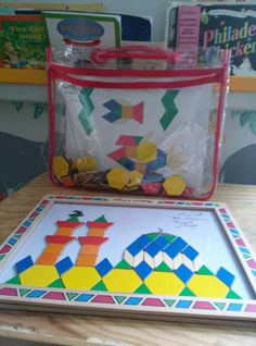 Great activity for kids to do alone quietly, or as a group effort.   Pull up the Masjid Patterns here on Scribd:http://www.scribd.com/doc/21335679/pattern-blocks-masjids  We used this Melissa & Doug  magnetic pattern block set which was great bc it has it's own carry bag. http://www.melissaanddoug.com/magnetic-pattern-learning-block-set
