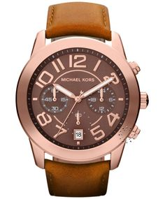 MICHAEL KORS Chronograph Rosegold Brown Leather Strap  Τιμή: 258€  http://www.oroloi.gr/product_info.php?products_id=32651