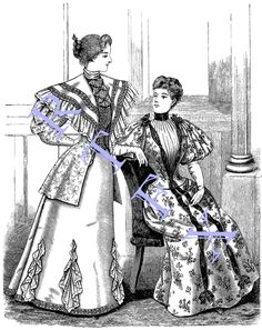 1895 Fashion Plate Blank Note Card Victorian Handmade Sisters by RTFX on Etsy