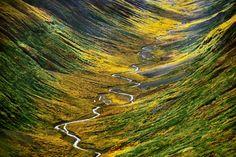 Con más de 53.000 kilómetros cuadrados, extensión similar a las de Galicia, Asturias, Cantabria y el País Vasco sumadas, el parque nacional y reserva de Wrangell-San Elías, en Alaska, es el más grande de los 58 que actualmente integran la red estadounidense. Incluye hábitats costeros, grandes extensiones de tundra (como el valle de Bremmer, en la foto) y la segunda montaña más alta del país, el monte San Elías (5.489 metros). FRANS LANTING GETTY