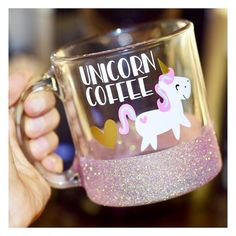 Unicorn Coffee. Current Turnaround time is 1-2 weeks Size pictured - 13oz Clear Glass MugAdditional Sizes - 16oz Ceramic Coffee Mug PLEASE ADD THE FOLLOWING TO