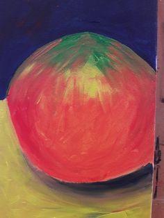 detail 'expressief' schilderij: weergeven van diepte n een vlak dmv kleur