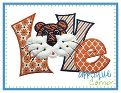 LOVE Quirky Tiger Applique Design