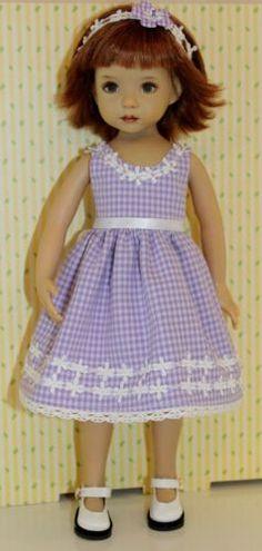 Gingham-Garden-Girl-fits-13-Effner-Little-Darling-PURPLE-DRESS-SET