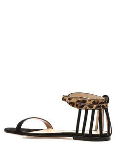 d978da1c4449c Gianvito Rossi Animal Print KADIN Siyah Leopar Desen Detaylı Kadın Süet  Sandalet 606221| Beymen