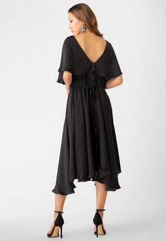 020ca2710a Fusia Black - Faux Wrap Dress - Little Black Dress - Simple Silk Dress - Travel  Dress
