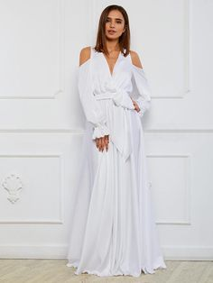 2f084573e2 Bohemia V-Neck Long sleeves Off shoulder Split-side Maxi Dress –  chicbohodress White