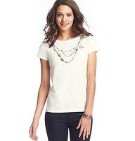 Jeweled Necklace Tee - Leave the necklace at home and show off your glam side in this clever covetable, studded with glittery gems. Crew neck. Short sleeves.
