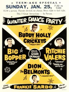 Buddy Holly, Ritchie Valens, the Big Bopper & Dion and the Belmonts - Classic poster!