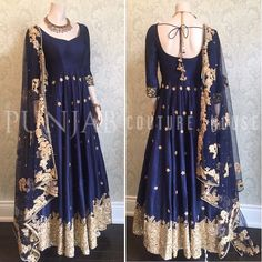 "518 Likes, 8 Comments - Designer/Couture/Fashion (@punjabcouturehouse) on Instagram: """"Once upon a midnight ✨"" A midnight blue canvas adorned with glittering gold embellishments, a…"""
