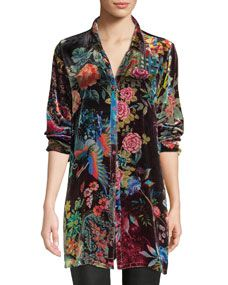 Plus Size Dream Floral-Print Velvet Easy Tunic by Johnny Was at Neiman Marcus Rose Half Sleeve, Johnny Was Clothing, Plus Size Kleidung, Silk Charmeuse, Silk Satin, Printed Blouse, Designing Women, Plus Size Outfits, Floral Prints