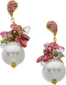 South Sea Cultured Pearl, Multi-Stone, Gold Earrings, Marya Dabrowski The earrings feature South Sea cultured pearls measuring 13.10 - 13.20 mm, enhanced by round-cut pink tourmaline weighing a total of approximately 0.40 carat, accented by faceted beads and briolette-shaped multi-colored tourmaline, set in 18k gold, completed by posts with friction backs. Gross weight 13.90 grams. Dimensions: 1-1/2 inches x 1/2 inch.