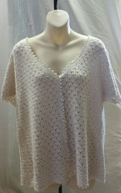 White Stag Crochet Sweater With Buttons Size XL Ivory in Clothing, Shoes & Accessories, Women's Clothing, Sweaters | eBay