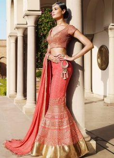 Pink Georgette Embroidered Party Wear Lehenga Choli. Lehenga crafted with heavy zari embroidery and art silk embroidered choli. Lehenga with georgette dupatta.