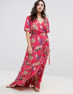 ASOS Curve | ASOS CURVE Maxi Tea Dress with Ruffle Detail in Floral Print