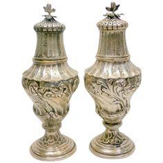 Antique Art Nouveau 800 Silver Salt & Pepper Shakers