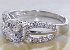 Brilliant 2.76 CT Round Halo White Sapphire Wedding Engagement Cocktail Ring  #SolitairewithAccents