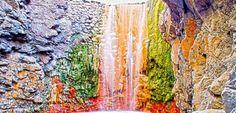Cascada de Colores, Caldera de Taburiente, La Palma, Canary Islands, Spain.