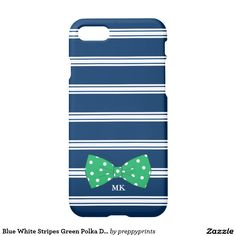 Blue White Stripes Green Polka Dot Bow | Monogram iPhone 7 Case
