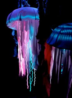 Great idea for making glowing jellyfish costumes. Halloween will be here before we know it! & Electronic Luminescence EL Wired Dress by Evanette. via Etsy. one of ...