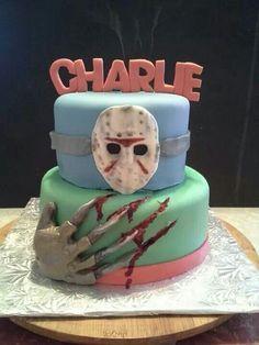 Jason vs freddy cake Birthday Ideas, Birthday Parties, Birthday Cake, Halloween Horror, Halloween Town, Horror Cake, Creepy Food, Sweet 16, Dark Side