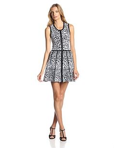 Parker Women's Landon Animal Jacquard Fit and Flare Dress...