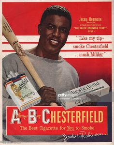 Jackie Robinson endorses Chesterfield in this cigarette ad produced in New York City, circa 1948.