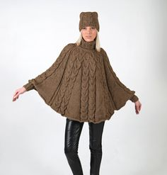 Hand knitted one size poncho and hat set with long door IlzeOfNorway Poncho Knitting Patterns, Crochet Poncho, Knit Patterns, Hand Knitting, Crochet Machine, Poncho Sweater, Knitted Bags, Digital Pattern, How To Draw Hands