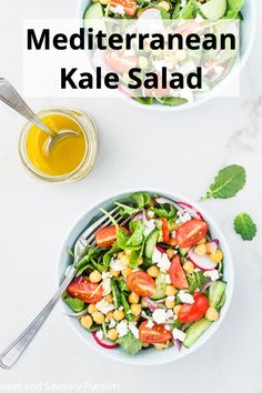 This Mediterranean Kale Salad is made with fresh baby kale and chickpeas dressed in a lemon garlic dressing. Perfect served as a side for dinner or a light main dish for lunch. #KaleSalad #BabyKaleSalad #HealthySalad #SweetandSavouryPursuits Healthy Vegetables, Healthy Salads, Fresh Vegetables, How To Make Pesto, Kale Salad, Chickpeas, Original Recipe, Paleo Recipes, Food Food
