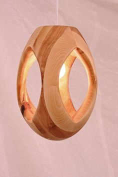 Lumitourni lamp. Sculptural (and dangerous) wood turning by Samuel Bernier