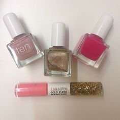 TenoverTen Mulberry, Worth and Delancey + LAQA & Co. Cagney Gold Fleck Manicure Duo