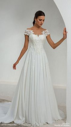 Justin Alexander Fall 2018 Off the Shoulder Lace and Chiffon A-Line Gown