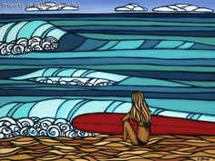 my new art from Hawaii! Surf art by Heather Brown - Original paintings & prints - waves, ocean, surf art from hawaii Heather Brown Art, Zentangle, Stand Up Paddle, Posca Art, Hawaii Surf, Surfing Pictures, Into The Fire, Room Pictures, Hair Pictures