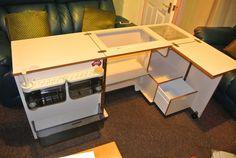 Horn Sewing Machine Cabinet with Overlocker storage