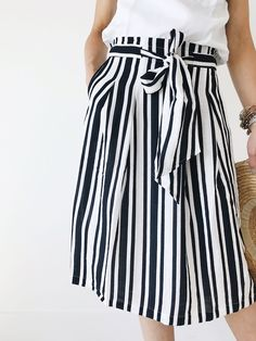 Ribbon Tie Stripe Summer Skirt | ROOLEE