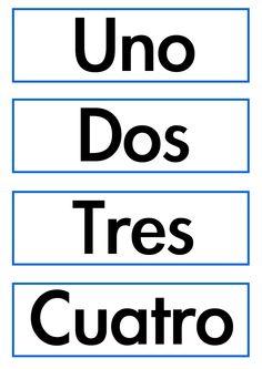 Nombres de los números para cortar y plastificar. Los niños los colocarán al lado del número correspondiente.