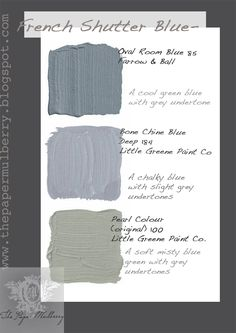 Soft misty shades of French Shutter Blue and green paints - The Paper Mulberry: Exterior Paint Shades - Part 2