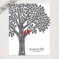 Tree Print with Initials in Gray and Red // Personalized Wedding or Anniversary  // Custom Housewarming Gift with love birds // Wedding Sign via Etsy