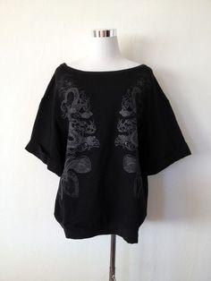 NWT ZARA Dragon Sweatshirt Blouse Top BLACK Size M
