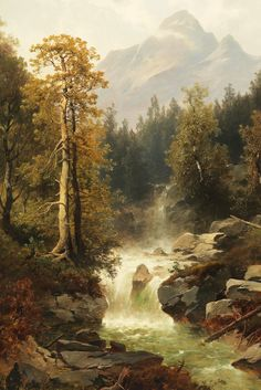 jaded-mandarin:  Josef Thoma. Waterfall near Toblach, 19th Century.
