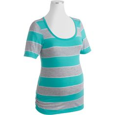 XXL $9.94 Faded Glory Maternity Bold Stripe Scoopneck Tee with Flattering Side Ruching