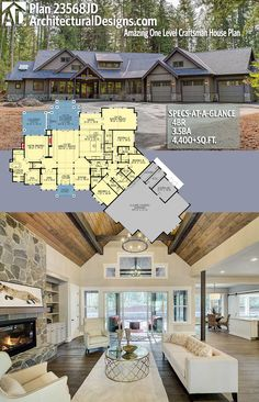 Amazing One Level Craftsman House Plan Architectural Designs House Plan gives you 4 beds, baths and over square feet of heated living space.Architectural Designs House Plan gives you 4 beds, baths and over square feet of heated living space. Craftsman House Plans, New House Plans, Dream House Plans, One Level House Plans, Craftsman Ranch, 5 Bedroom House Plans, 4000 Sq Ft House Plans, One Level Homes, Basement House Plans