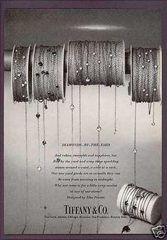Elsa Peretti Diamonds Chains Tiffany & Co Jewelry Ads, Jewelry Design, Antique Jewelry, Vintage Jewelry, Elsa Peretti, Vintage Branding, Rough Diamond, Blue Box, Jewelry Photography