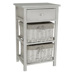 Wooden commode in white color and willow drawer
