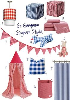 Gingham Style. Decor pieces for kids rooms and the nursery.
