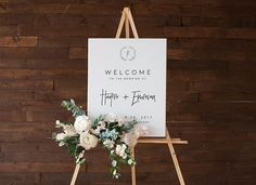 Modern Wedding Welcome Poster - Greenery Wreath Printable Greenery Wedding Welcome Sign, Modern Wedding Signs, Minimal Wedding, Wedding Poster, Welcome to Our Wedding Sign, Black and White Poster from The Brumby Nest