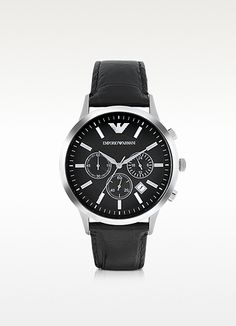 ea0e1b1917ecb Emporio Armani Stainless Steel Chronograph Watch w Embossed Leather Strap