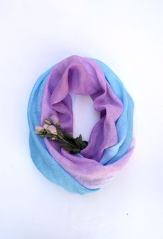 Hand Dyed Linen Scarf  Lavender Blue Scarf  Bohemian by lyralyra, $32.00