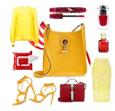 """Yellow and Red 2Church"" by rhaxkido ❤ liked on Polyvore featuring Aquazzura, Baum und Pferdgarten, Roland Mouret, Hermès, Michael Kors, Physicians Formula, Henri Bendel and Sephora Collection"