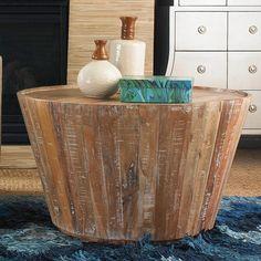 Salvaged Wood Barrel Coffee Table
